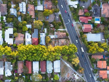 Aerial shot of housing in Melbourne - Home Backup